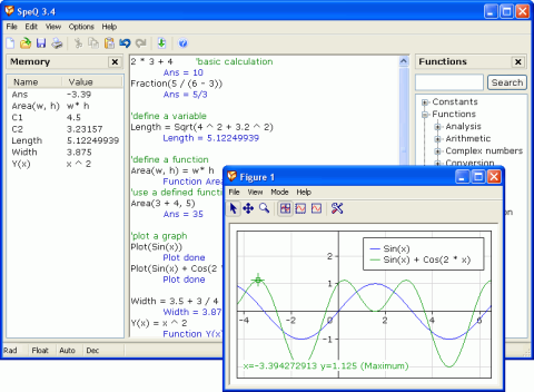Screenshot of SpeQ Mathematics (Click to enlarge)